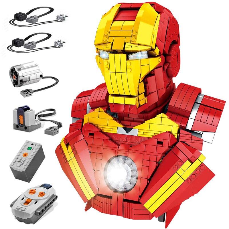 LED Lighting Iron Man Super Heroes Ironman Model Building Blocks Boys Birthday Gifts Kids Educational Toys For Children